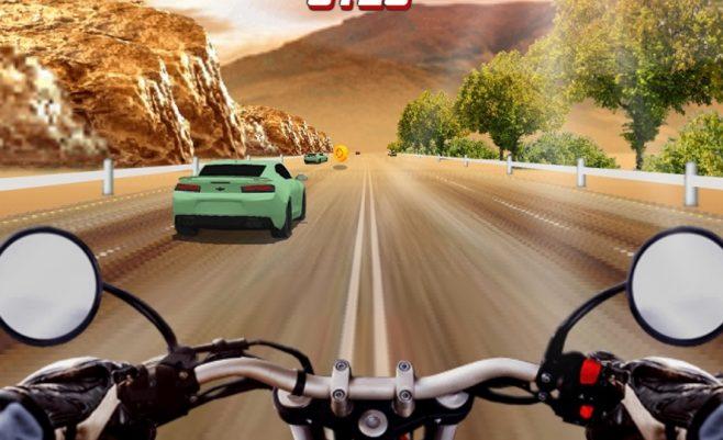 Žaidimai - motociklas autostradoje.