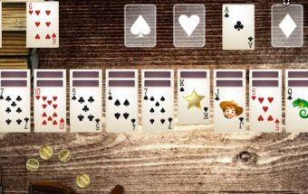 Solitaire kaubojai žaidimas su kortomis.